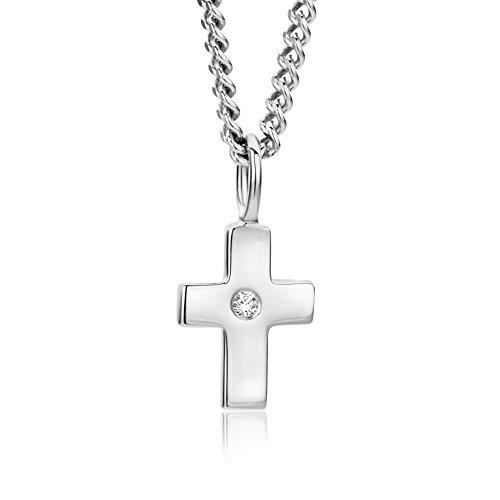 Miore Kette - Halskette Damen Kette Silberfarbig 925 Sterling Silber mit Kreuz mit Rundschliff Zirkonia Steinchen 45 cm