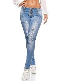 Blanco Store - Jeans Donna Stretch Pantaloni Denim con Strass E Strappi 35052bc34bd