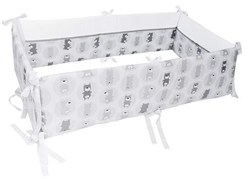 Vizaro - NESTCHEN 360° KOMPLETTE SCHUTZ der Kinderwiege (Co-Sleeping) abnehmbar (70x140cm) - 100% REINE BAUMWOLE - Made in EU - ÖkoTex - SICHERES PRODUKT - K. Graue Bären