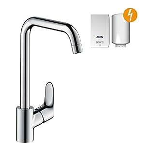 hansgrohe Focus Küchenarmatur (Wasserhahn Küche für offene Warmwasserbereiter, 110°, 150°, 360° schwenkbar, hoher Auslauf 260mm) chrom
