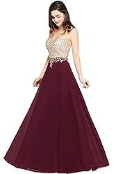 MisShow Damen A Linie Festliches Kleid für Hochzeit Abiballkleider lang Brautjungfernkleider Abiballkleider Weinrot 34