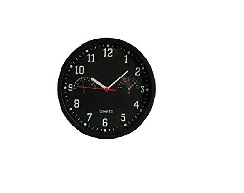 Wanduhr mit Hygrometer | Thermometer | Uhr | Zeit | Wand Uhr | Geschenk | schwarz | Preis am Stiel®