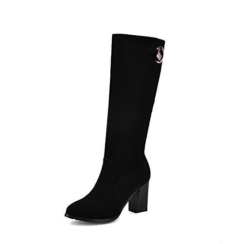 AgooLar Damen Reißverschluss Hoher Absatz Rein Hoch-Spitze Stiefel mit Metallisch, Schwarz, 36