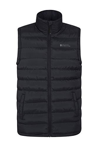 Mountain Warehouse Seasons Gepolsterte Weste - Wasserbeständig, warm, leichte Jacke mit Zwei Fronttaschen, leicht zu verstauender Mantel - Ideal für Reisen im Winter Schwarz XX-Large (Blend Sport Mantel Herren)