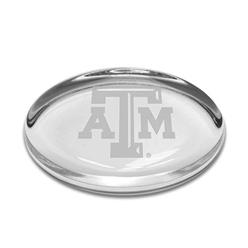 University Glass NCAA Texas A&M Aggies Oval Paperweight, Clear, One Size - Texas Wein