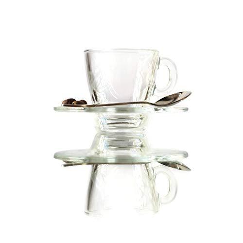 Pasabahce 18-teiliges Espresso-Set enthält: 12 x Aqua-Sets mit 6 x 57 ml Kristallklare Kaffeetrinken Demitasse Mags & 6 Glasuntertassen mit 6 passenden Löffeln 6 Demitasse Cup