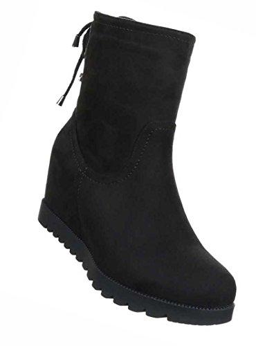 40 36 39 Damen Braun 38 41 Grau Schwarz Wedges 37 Stiefel Boots Keil Schuhe wg4qR