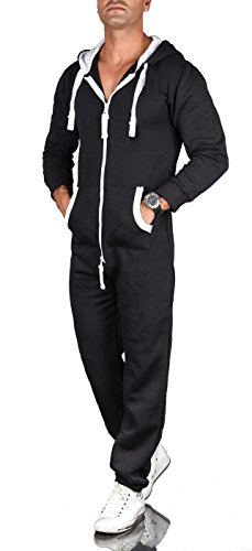 A. Salvarini Herren Jumpsuit Overall Jogging Anzug Trainingsanzug Jogger Sportanzug AS-039 [AS-039-Schwarz-Gr.3XL]