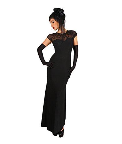 Elegante e alla moda lungo abito con parte posteriore sexy Nero