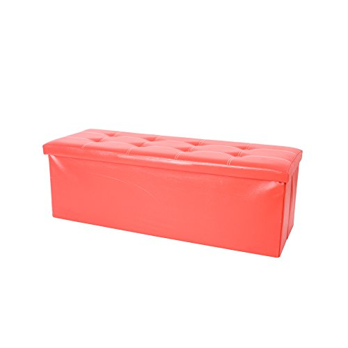 Mobili Rebecca® Puff almacenaje Asiento Rojo Reposapiés rectangulares Sillon taburete 38 x 110 x 38 cm (Cod. RE4910)