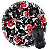 MSD Naturkautschuk Mousepad rund Maus Pad/Matte: 9718843Skulls auf schwarzem Hintergrund Nahtlose Muster -