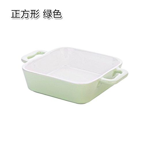 rechteckige Bonbonfarbenen Keramik pasta Käse gebackener Reis Schalen für den Hausgebrauch Backblech Platte ein Quadrat grün (Reis-käse)