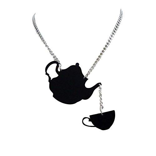 Oce180anYLV Mode Frauen Schmuck Schwarz Teekanne Teetasse Choker Kette Party Shopping Halskette