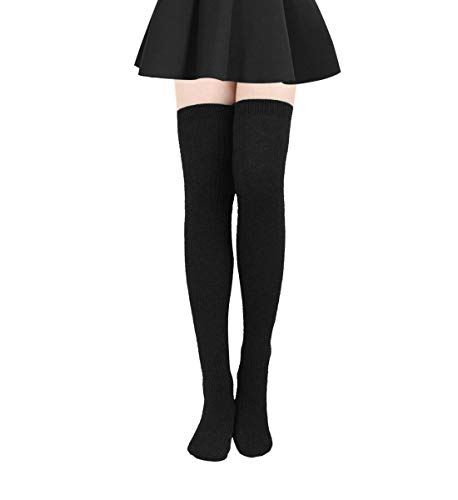 Damen Kniestrümpfe - Overknee Strümpfe Streifen Lange Socken Retro Knitting Strümpfe Mädchen Cheerleader Sportsocken Baumwollstrümpfe (Schwarz A)