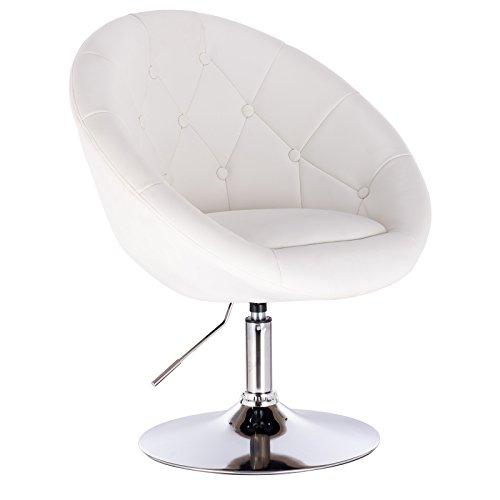WOLTU® BH77ws 1 x Barsessel Loungesessel mit Armlehne, stufenlose Höhenverstellung, Kunstleder, Weiß -