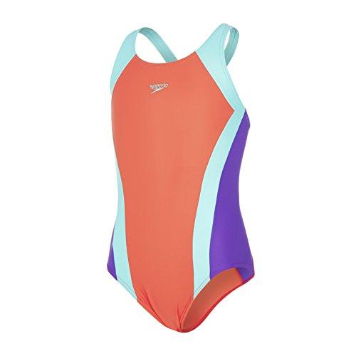 Speedo - Traje de Baño Para Niñas, Multicolor (Watermelon/Spearmint/Violet), 34