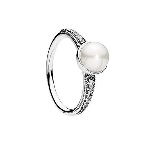 ZhongYi Schlicht und elegant Sterling Silber Zirkon Perle Ring (Antike Perle Ring)