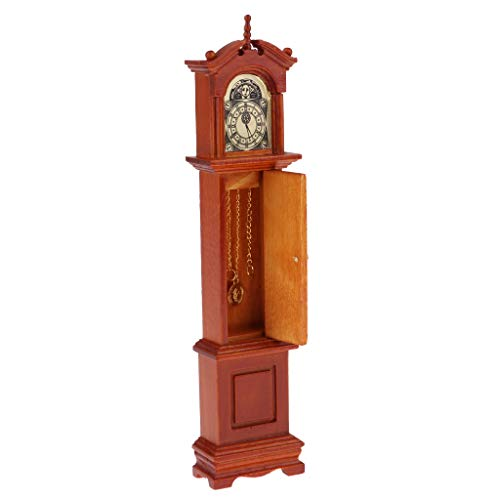 MagiDeal 1/12 Puppenhaus Wohnzimmer Möbel, Miniatur Vintag Standuhr Großvater Uhr Grandfather Clock, Annatto - Möbel Uhr