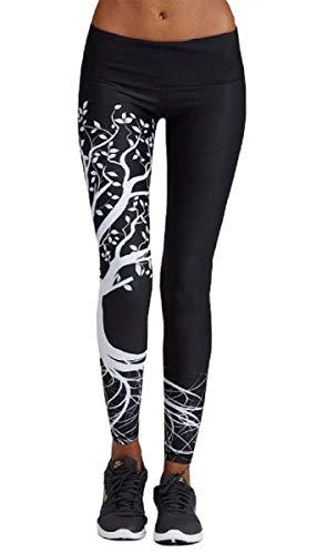 Yuson Girl Pantaloni da Yoga da Donna Elastici Sportivi Pantaloni Stampe di Alberi Yoga Leggings Sport Opaco Yoga Fitness Spandex Palestra Pantaloni