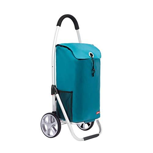 RJLI Rollwagen Einkaufswagen-Faltwagen Aus Aluminium Für Ältere Menschen Einkaufswagen-Kinderwagen Tragbarer Zweiradwagen Lastenträger 40kg Rollwagen (Color : Blue, Size : 46 * 35.5 * 100cm)