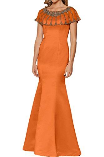 Victory Bridal Anmutig Einfach Satin Lang Trumpet Brautjungfernkleider Abendkleider Cocktailkleider Tanzenkleider Orange