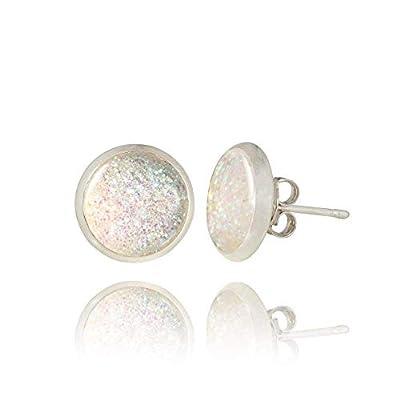 Fashion Clous d'Oreilles Scintillantes plaqué Argent de couleur Blanche; Cadeau Surprise Anniversaire pour Femme; Diamètre 1cm