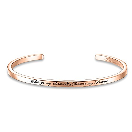 "Annamate Armband mit Gravur Damen Armreif, Inspirationaler Motivationstext ""Always my Sister Forever my Friend"" - Offener Manschette Boutique Armschmuck"