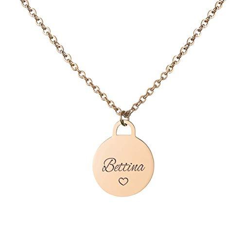 URBANHELDEN - Kette mit Wunschgravur - Damen-Kette Namenskette - Amulett mit Namen graviert - Personalisierte Münz-Kette Coin 1 - Rosegold