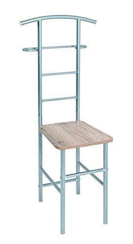 HAKU Möbel 81950 Herrendienerstuhl, Metall, alu eiche san remo, 46 x 46 x 109 cm