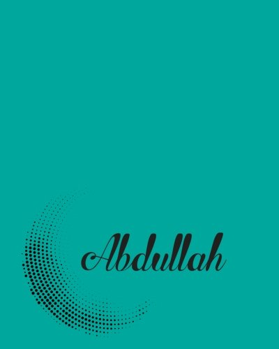 Abdullah: Dot Grid 5 mm Spacing 110 Pages 8x10 Inches turquoise Circle Dot Design with Lettering Name, Abdullah
