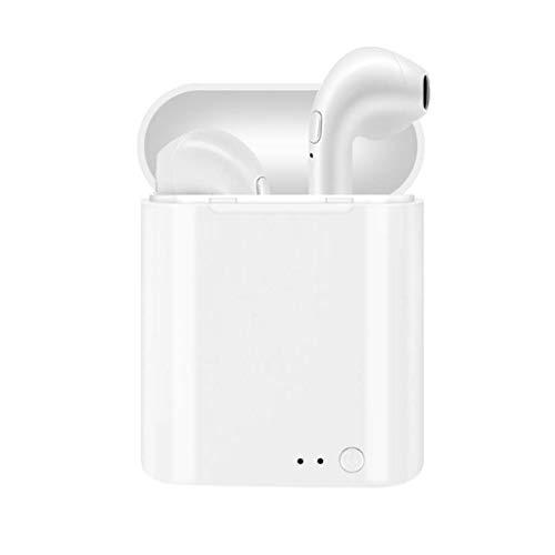 Licy I7mini Auricolare Bluetooth Senza Fili Dual Ear Car Motion Versione Bluetooth 4.2 Ascoltare la Canzone 2-3 Ore di Bianco Nero (Colore : Bianca)