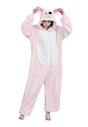 URVIP Neu Unisex Adult Pyjama Cosplay Tier Onesie Body Nachtwäsche Kleid Overall Animal Sleepwear Schlafanzug mit Kapuze Erwachsene Cosplay Kostüm Rosa-Maus-01 - Ninja Männliche Kostüm