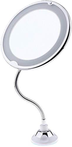 LCJYZBD Espejo cosmético LED con luzAumento de 10x con Ventosa Giratorio de360 °Espejo...