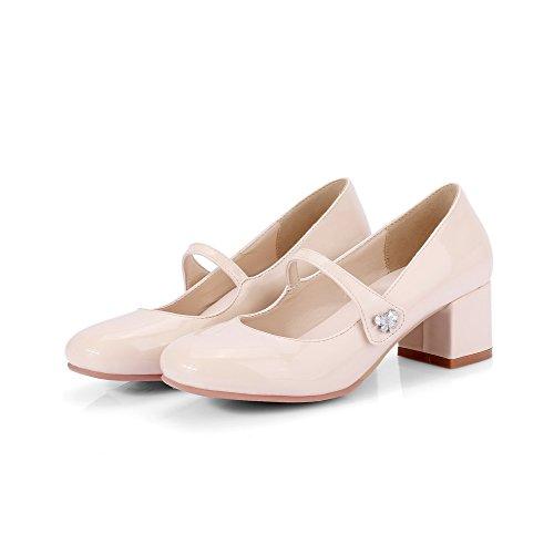 VogueZone009 Donna Tirare Pelle di Maiale Punta Quedrata Tacco Medio Puro Ballet-Flats Beige