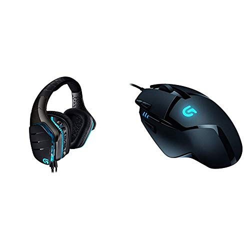 Logitech G633 Artemis Spectrum Pro Wired Gaming-Headset (7.1 Dolby Surround Sound für PC, Xbox One und PS4) schwarz & LogitechG402 Gaming-Maus Hyperion Fury (mit 8programmierbaren Tasten) schwarz