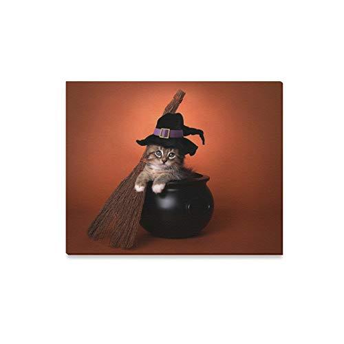 Box Kostüm Kätzchen - JOCHUAN Wandkunst Malerei Lustige Halloween Hexe Themen Kätzchen Drucke Auf Leinwand Das Bild Landschaft Bilder Öl Für Zuhause Moderne Dekoration Druck Dekor Für Wohnzimmer