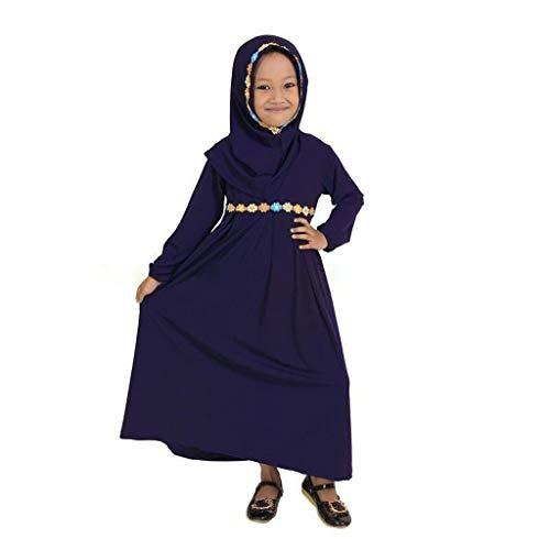 hen Maxi Kleid,Ramadan Festival Baby-Kinder-islamische Langer Muslim Abaya mit Sticken Hijab mit Langen Ärmeln Kleid ()