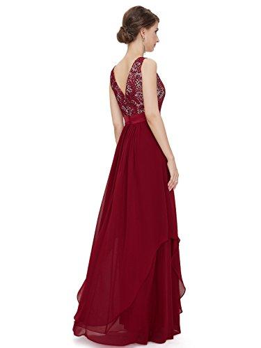 ZAFUL Damen Ärmellos Abendkleid Elegant Cocktailkleid Rundhals Brautjungfer Party Kleid Weinrot