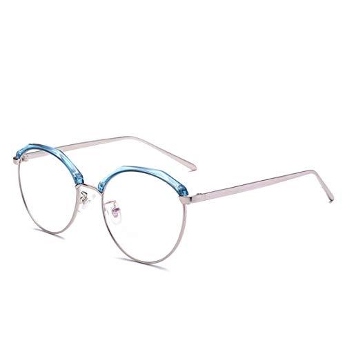 Zebuakuade Brille Trendige runde Brille ohne Brille für Damen, Herren (Color : Blue)