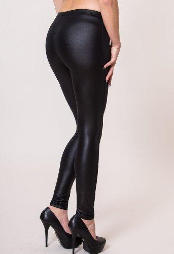 CASPAR HLE001 Leggings classique pour femme / look effet cuir - noir Noir