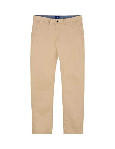 GANT Herren Slim Twill Chino Hose, Grün (Dark Khaki 248), W(Herstellergröße: 32/36) - Classic Polo Chino Hose