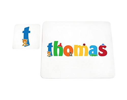 Little Helper de Thomas Coast erandpl acemat de 15de personnalisée, fille nom et dessous de 4 sets de table avec finition brillant, Thomas
