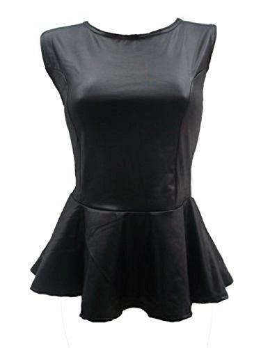 Janisramone Signore peplum pieghe senza maniche celeb bodycon vest top WET LOOK PVC