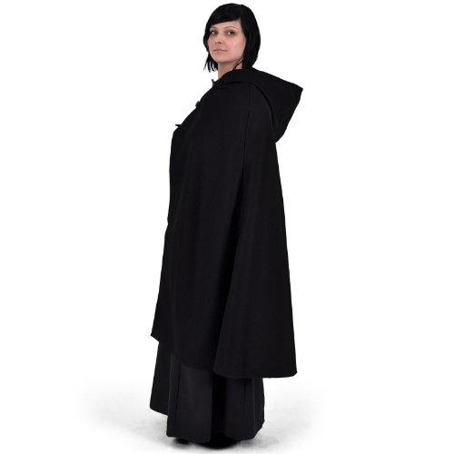 Mittelalter Umhang Damen Kapuze Knebelverschluss warm u wasserabweisend schwarz - 4