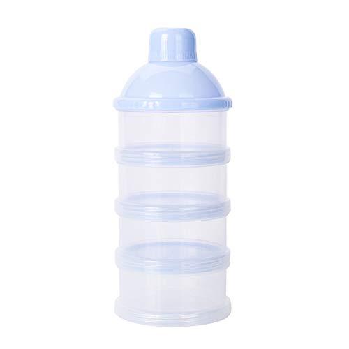 Newin Star Bebé de leche en polvo dispensador de alimentación del bebé del recorrido del almacenaje del envase 4 capas anti-derrame apilable Snack-contenedor de almacenamiento libre de BPA azules