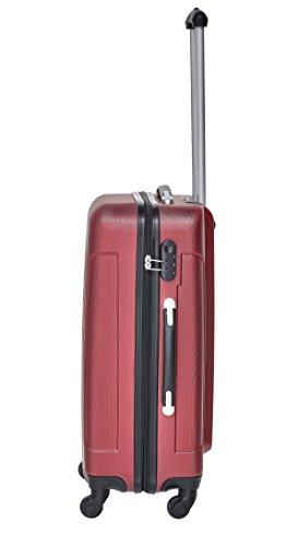 Packenger Kofferset - Travelstar - 3-teilig (M, L & XL), Rot, 4 Rollen, Koffer mit Zahlenschloss, Hartschalenkoffer (ABS) robuster Trolley Reisekoffer - 5