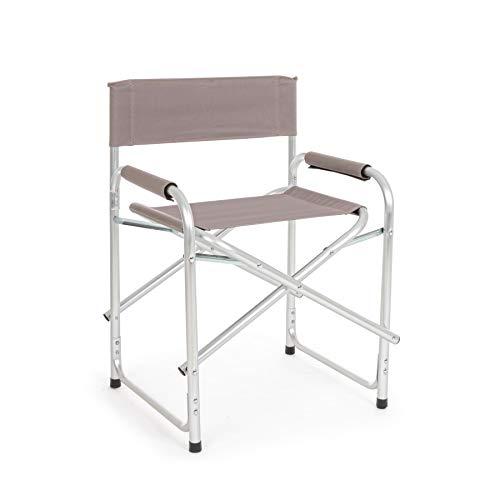 ARREDinITALY Lot de 6 chaises de Jardin Pliantes en Aluminium satiné et textilène Taupe