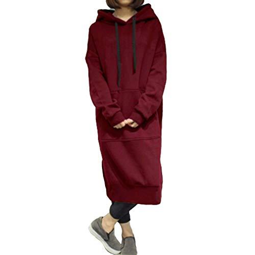 Meedot Damen Lange Pullover Kapuzenpullover Hoodie Sweatkleid Long Sweatshirt Fleecepullover Kapuzen Pullover Pulli Kleid S-5XL (Pullover Red Kleid)