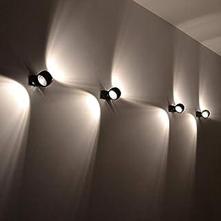 Wandleuchte s.LUCE Beam Up&Down mit Glaslinsen schwarz moderne Wohnzimmerleuchte mit Lichteffekt Schlafzimmerleuchte Flurbeleuchtung Treppenhaus
