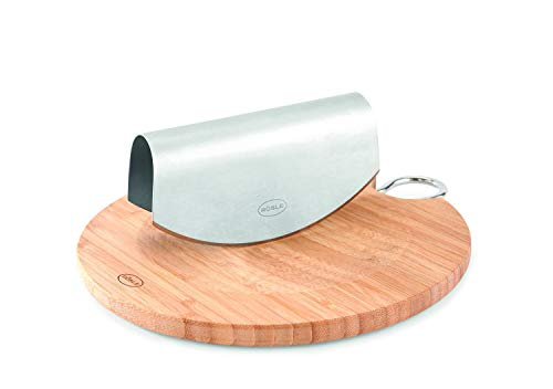 RÖSLE Einhand-Wiegemesser mit Bambusbrett Ø 24,5 cm, Edelstahl 18/10, 28 x 26 x 5 cm, Profiqualität, spülmaschinengeeignet